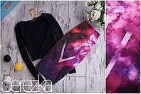 Костюм топ +юбка карандаш с разноцветным принтом
