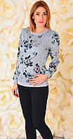 Свитшот для беременных и кормящих мам 2-в-1 Цветы на сером