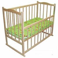 Детская кроватка без лака фигурная, опускание
