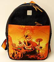 Джинсовый рюкзак панда кунг-фу, фото 1