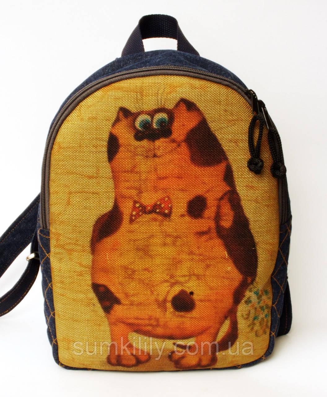 Джинсовый рюкзак стеснительный кот