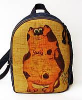 Джинсовый рюкзак стеснительный кот, фото 1