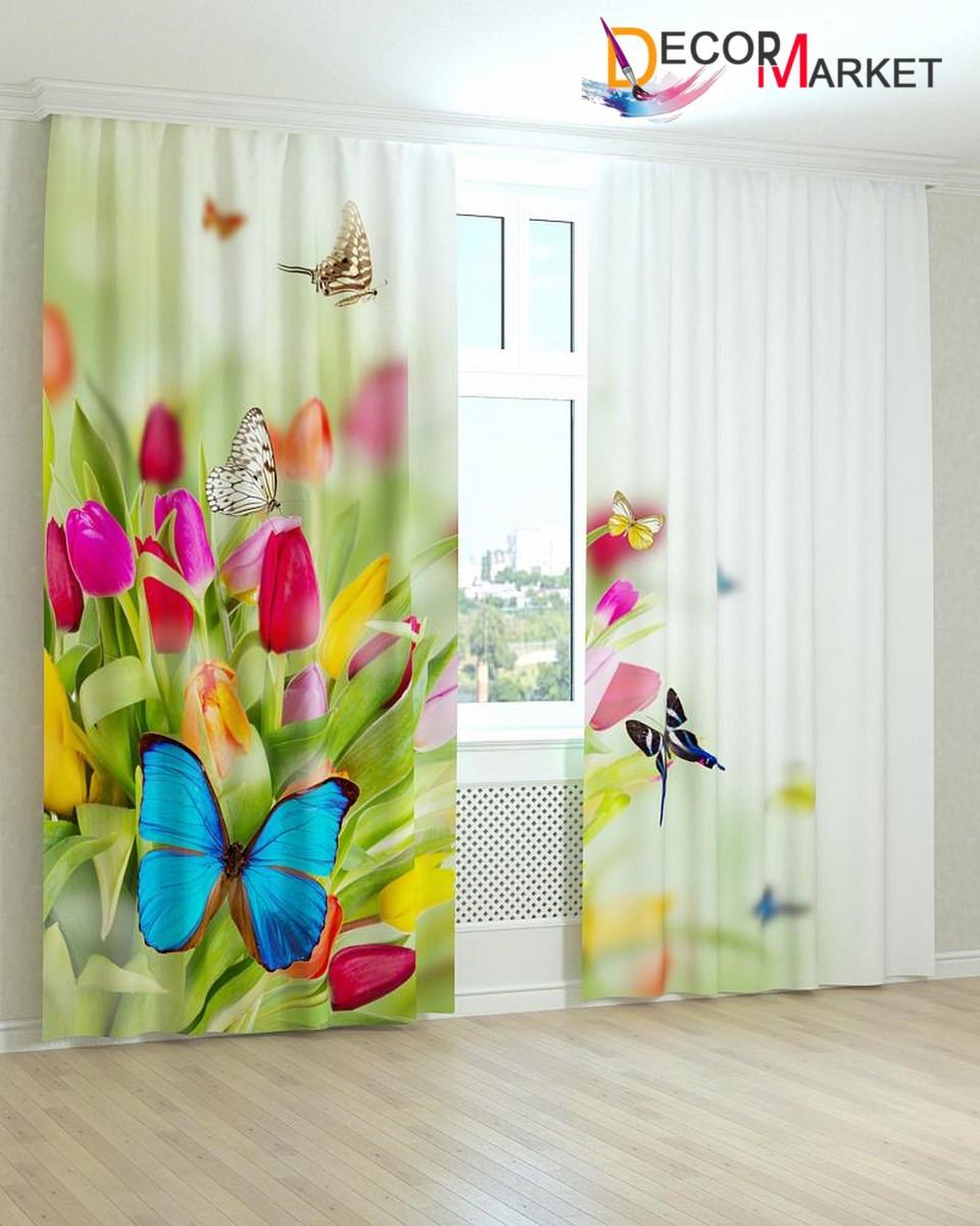 Фотошторы бабочки на тюльпанах