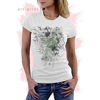 Женская белая футболка с рисунком Цветок Птица