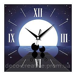 Часы настенные Котики под луной
