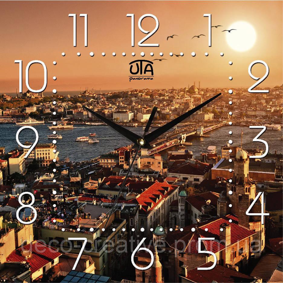 Годинник настінний Захід сонця над містом