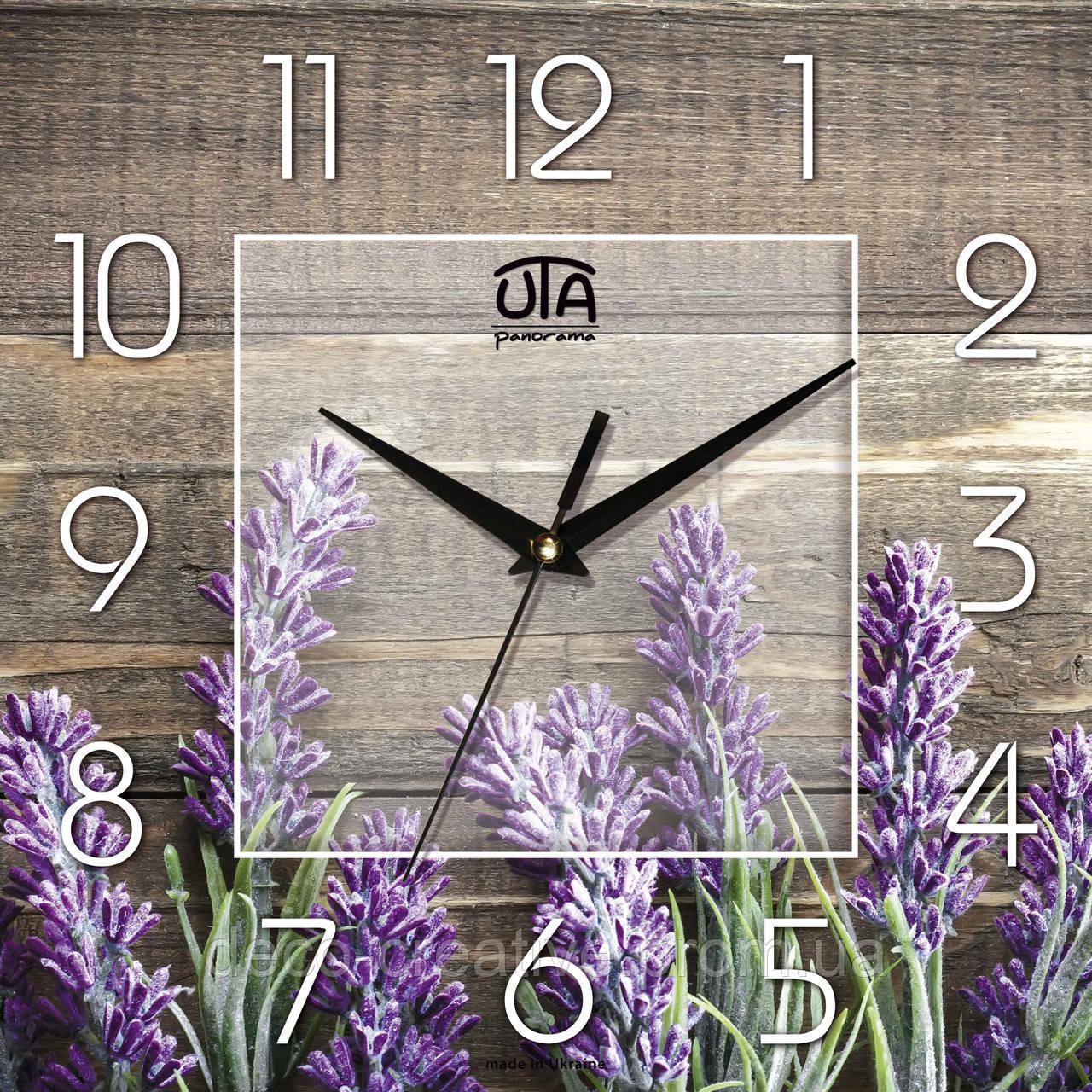 Годинник настінний Лаванда на дошках