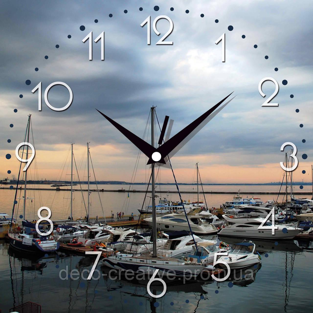Годинник настінний Закат в гавани