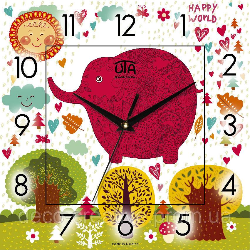 Годинник настінний Рожевий слон