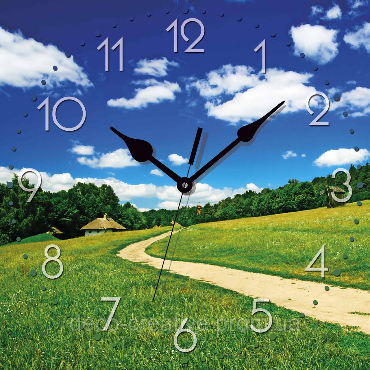 Годинник настінний Зелені лани