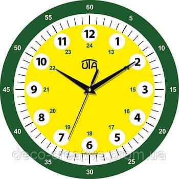 """Годинник настінний ЮТА  обучающие детские """"Vintage"""" 330Х330Х30мм             001 DS (стрелки цветные)"""