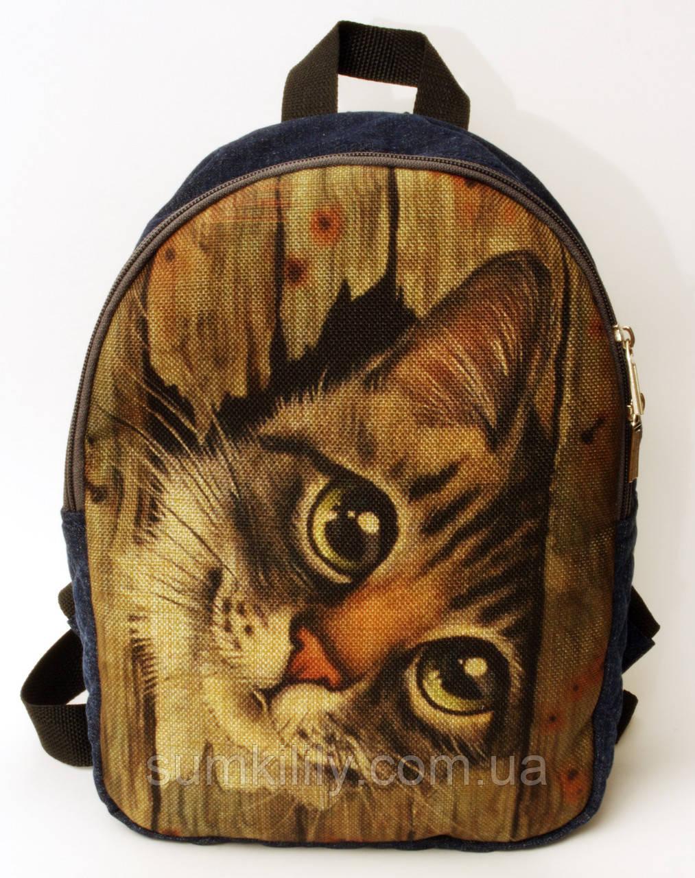 Джинсовый рюкзак Кот