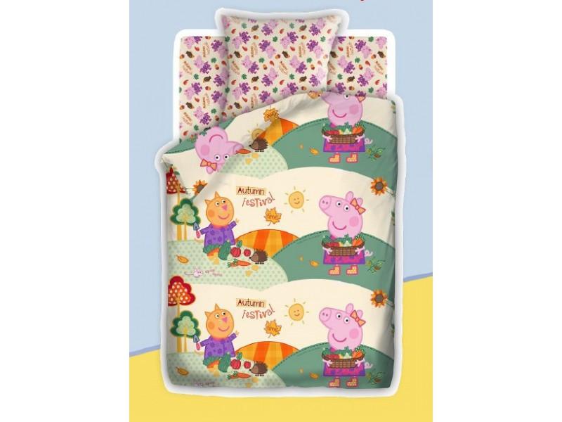 Детский постельный комплект «Осенний фестиваль», Свинка Пеппа