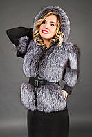 Куртка-жилет из чернобурки с капюшоном №2130 (р.44-52)
