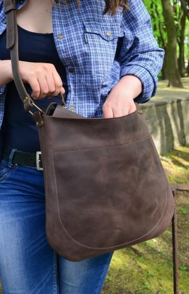 Женская сумка-почтальон из кожи Babak 880051 коричневый