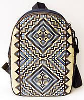 Джинсовый рюкзак синие ромбы, фото 1