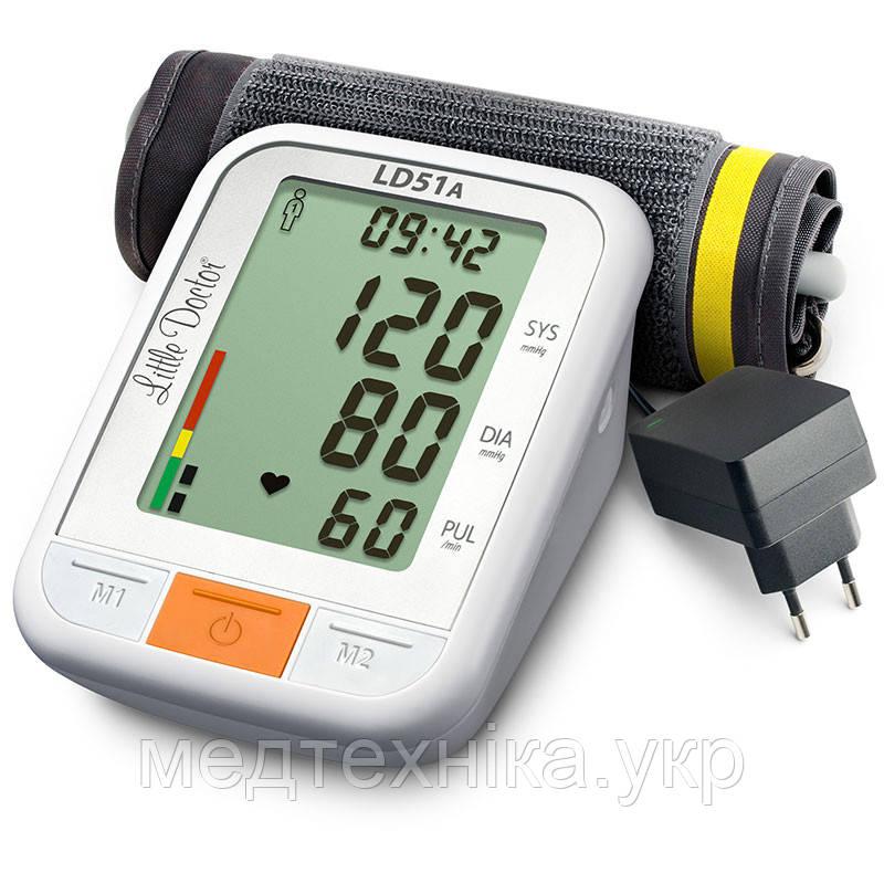Тонометр автоматический на плечо LD 51 А с большим дисплеем, индикатором аритмии, адаптером, Сингапур