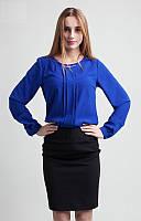 Молодежная блузка с круглым вырезом цвета электрик