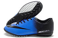 Сороконожки мужские Nike Mercurial Walked синие с черным (найк меркуриал)