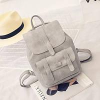 Рюкзак кожаный  с клапаном и карманом (серый)