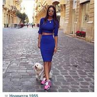 Женский Костюм топ+юбка карандаш  цвет-марсал, фото 1
