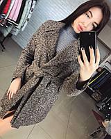 Стильное кашемировое женское пальто короткое меланжевое В10584, фото 1