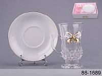 """Кружка стеклянная с керамическим блюдцем """"Принцесса"""" 86-1689"""
