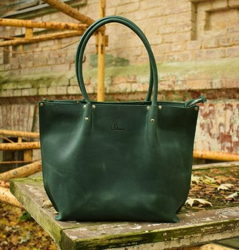 Жіноча зелена шкіряна сумка Shopper Babak 894077