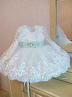Роскошное платье на девочку с пышной юбкой отделкой кружевом и стразами
