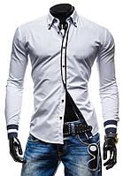 Рубашка мужская с черными вставками