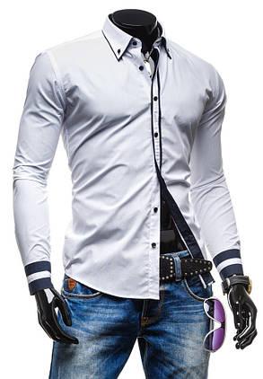 Рубашка мужская с черными вставками, фото 2