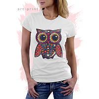 Женская белая футболка с рисунком ETHNIC OWL