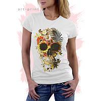 Женская белая футболка с рисунком SKULL TROPICAL