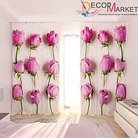 Фотошторы розы на розовом фоне