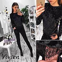Стильный женский костюм кофта+лосины декорировано гипюром,ткань бархат, цвет черный,стальной