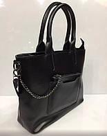 Стильная женская сумка в комплекте с кошельком, материал натуральная кожа (Италия). Цвет черный