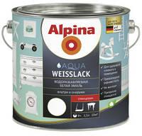 Акриловая эмаль Alpina Aqua Weisslack, шелковисто-матовый 2,5 л.