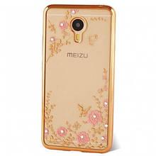 Чехол накладка силиконовый TPU Luxury Flower для Meizu MX6 золотистый