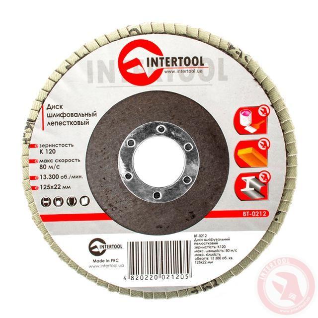Диск шлифовальный лепестковый 125x22 мм, зерно K100 INTERTOOL