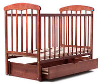 Кроватка детская Наталка с маятником и ящиком ясень темный
