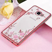 Чехол накладка силиконовый TPU Luxury Flower для Samsung A5 2017 A520 розовый