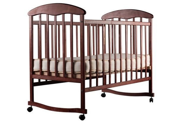Детская кроватка Наталка на полозьях ольха темная