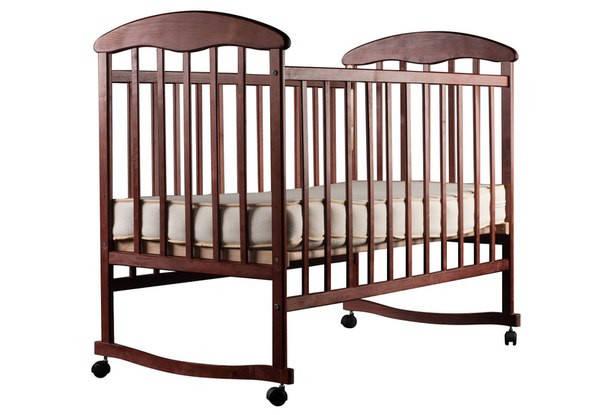 Детская кроватка Наталка на полозьях ольха темная, фото 2