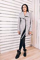 Актуальное женское пальто из серого синего цвета