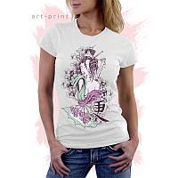 Женская белая футболка с рисунком ГЕЙША