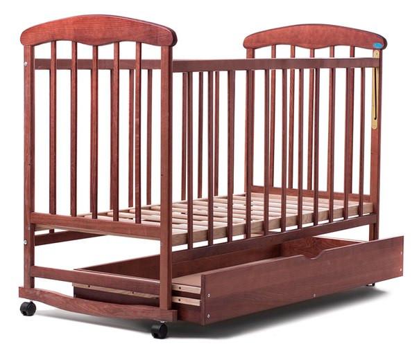 Детская кроватка Наталка с ящиком ольха темная