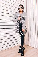 Актуальное женское пальто из шерсти с трикотажными рукавами