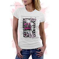 Женская белая футболка с рисунком TAKE PHOTO