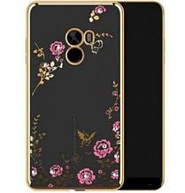 Чехол накладка силиконовый TPU Luxury Flower для Xiaomi Mi Mix золотистый