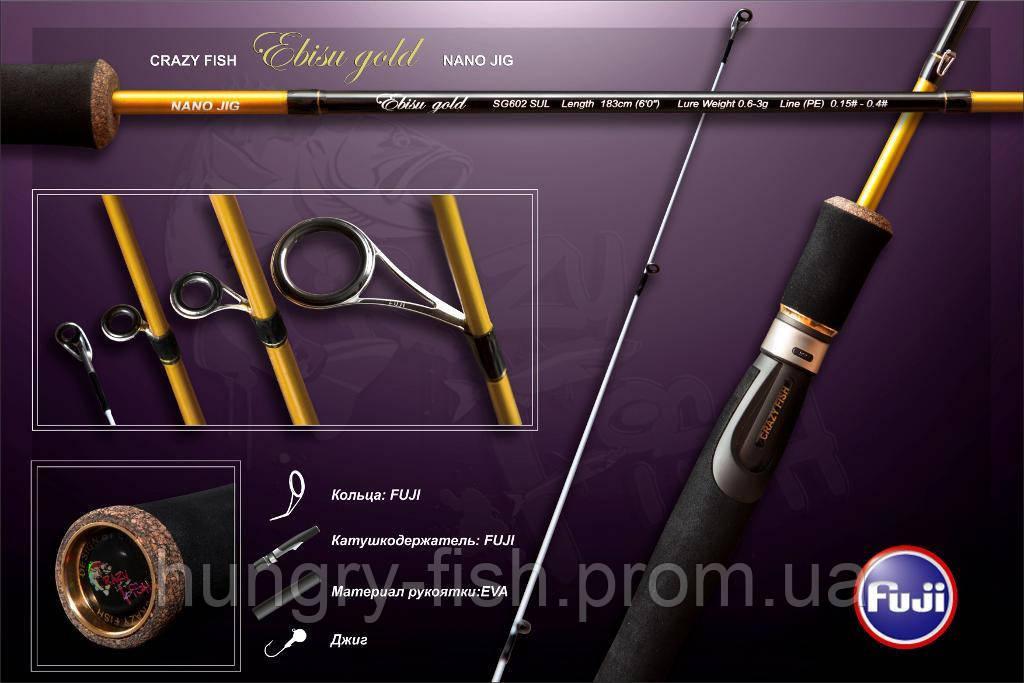 """Спиннинг """"Crazy Fish"""" Ebisu Gold 3-7g 215cm"""